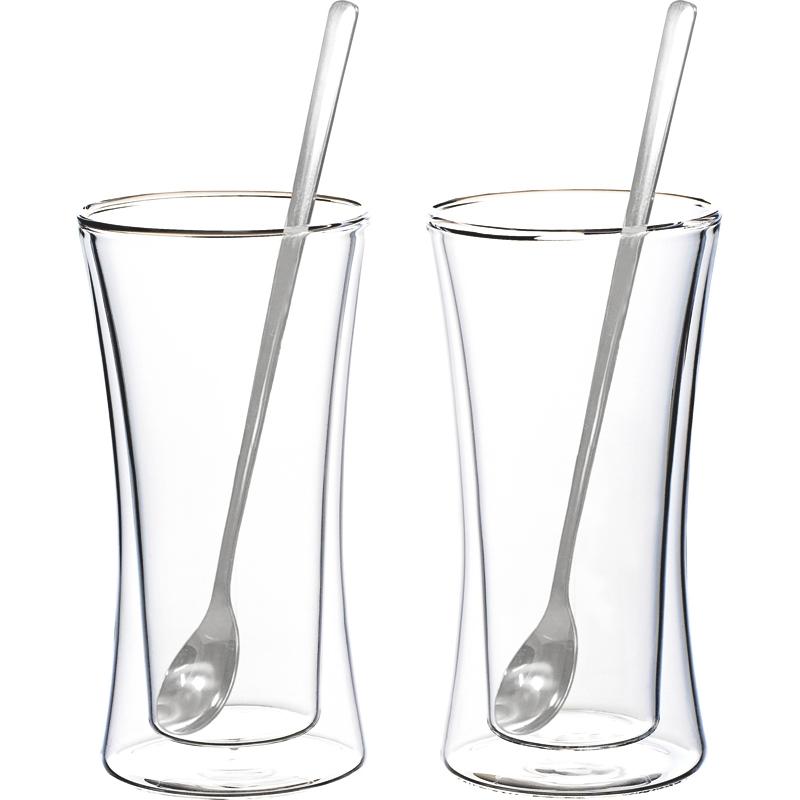 《ウェルナーマイスター》耐熱二重ガラス・タンブラー&ロングスプーンペアセット